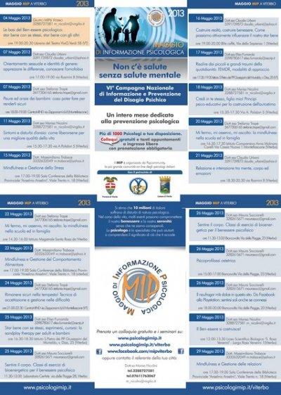 Tutto pronto per il Maggio di Informazione psicologica a Viterbo e provincia