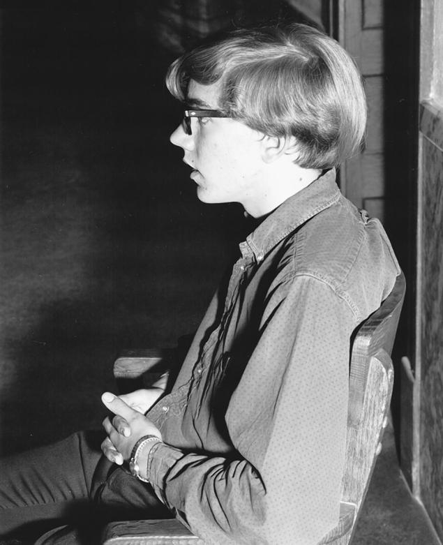 James Gordon Wolcott, 15, at the Georgetown Courthouse on Aug. 5, 1967. He was being held for the murder of his parents and teen sister.