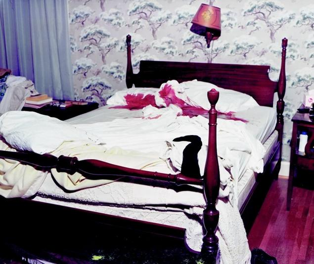Bedroom of Elizabeth and Gordon Wolcott. The mother woke up from the gunfire that killed her husband and daughter, but her son came to the door before she could escape and shot her three times.
