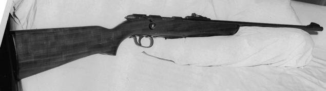 The 22.-caliber rifle that 15-year-old James Gordon Wolcott used to murder his father, mother and 17-year-old sister.
