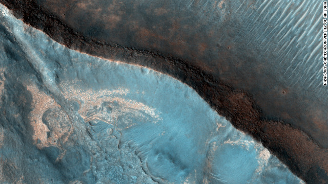The Nili Fossae region of Mars is one of the largest exposures of clay minerals discovered by the OMEGA spectrometer on Mars Express Orbiter. This image was taken in 2007 as part of a campaign to examine more than two dozen potential landing sites for NASA's new Mars rover, Curiosity, also known as the NASA Mars Science Laboratory.