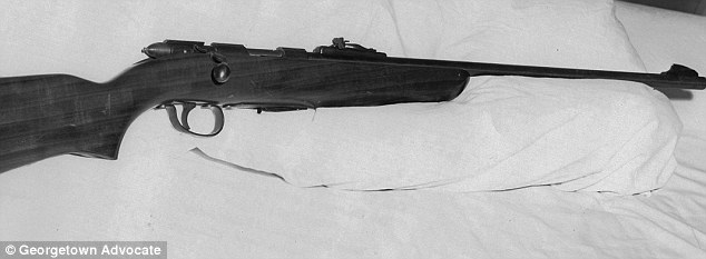 Murder weapon: On the night of August 4, 1967, James Wolcott got high on airplane glue, grabbed this .22-caliber rifle and murdered his parents and sister in cold blood