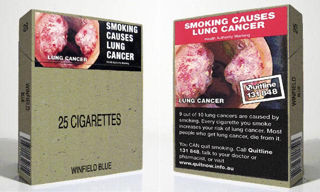 In ein paar Jahren will die EU-Kommission Vorschläge für einheitliche Verpackungen vorlegen: Entwurf der künftigen australischen Zigarettenpäckchen.