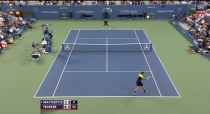 Roger Federer vs. Marinko Matosevic during 2014 U.S. Open